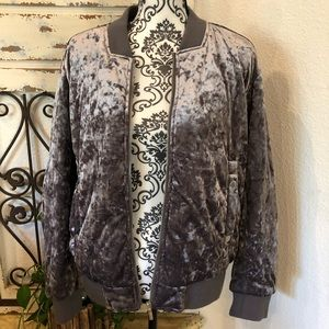 Collection b crushed velvet quilted purple jacket